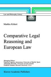 Cover of: Comparative Legal Reasoning and European Law (Law and Philosophy Library) | Markku Kiikeri