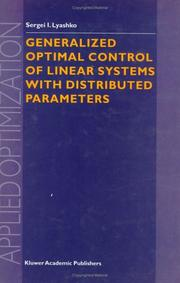 Cover of: Generalized Optimal Control of Linear Systems with Distributed Parameters (Applied Optimization)
