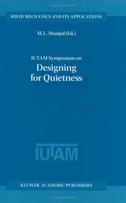 Cover of: IUTAM Symposium on Designing for Quietness (Solid Mechanics and Its Applications)