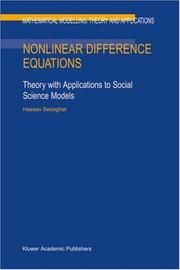 Cover of: Nonlinear Difference Equations: Theory with Applications to Social Science Models