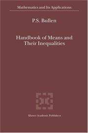 Cover of: Handbook of Means and Their Inequalities
