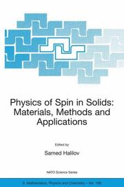Cover of: Physics of Spin in Solids: Materials, Methods and Applications
