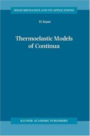 Cover of: Thermoelastic models of continua