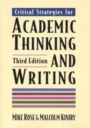 Cover of: Critical strategies for academic thinking and writing | Mike Rose