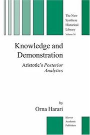 Cover of: Knowledge and Demonstration | Orna Harari