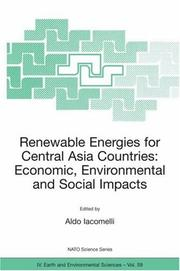 Cover of: Renewable Energies for Central Asia Countries: Economic, Environmental and Social Impacts