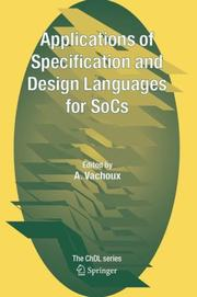 Cover of: Applications of Specification and Design Languages for SoCs