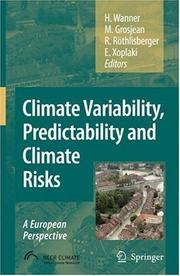 Cover of: Climate variability, predictability and climate risks |