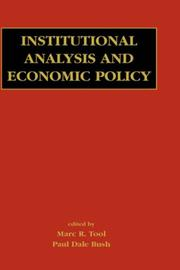 Cover of: Institutional Analysis and Economic Policy