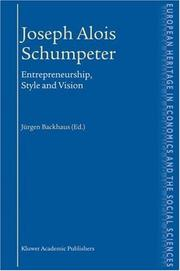 Cover of: Joseph Alois Schumpeter