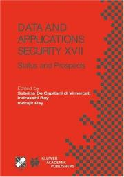 Cover of: Data and Applications Security XVII |
