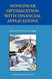 Cover of: Nonlinear Optimization with Financial Applications