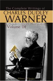 Cover of: The Complete Writings of Charles Dudley Warner: Volume 14
