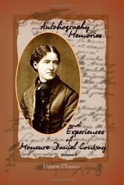Cover of: Autobiography, memories and experiences of Moncure Daniel Conway