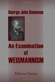 Cover of: An Examination of Weismannism