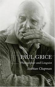 Cover of: Paul Grice, Philosopher and Linguist