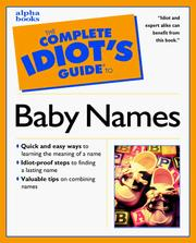 Cover of: The complete idiot's guide to baby names