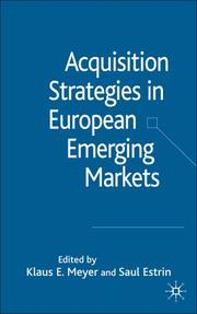 Cover of: Acquisition strategies in European emerging markets |
