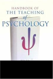 Cover of: Handbook of the Teaching of Psychology