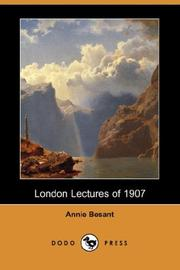 Cover of: London Lectures of 1907