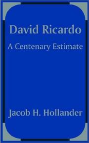 David Ricardo by Jacob Harry Hollander