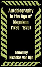 Cover of: Autobiography in the Age of Napoleon 1780 - 1820