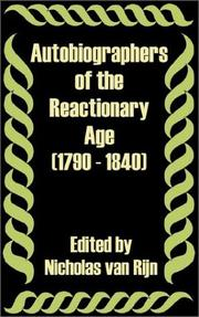Cover of: Autobiographers of the Reactionary Age 1790 - 1840