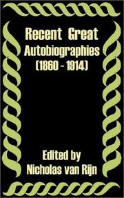 Cover of: Recent Great Autobiographies 1860 - 1914