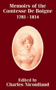 Cover of: Memoirs of the Comtesse De Boigne 1781 - 1814