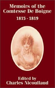 Cover of: Memoirs of the Comtesse De Boigne 1815 - 1819