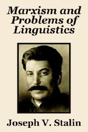 Cover of: Marxism and Problems of Linguistics