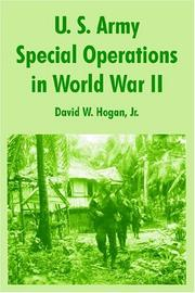Cover of: U. S. Army Special Operations In World War Ii | David W., Jr. Hogan