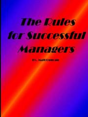 Cover of: The Rules for Successful Managers
