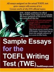 Cover of: Sample Essays for the TOEFL Writing Test (TWE)