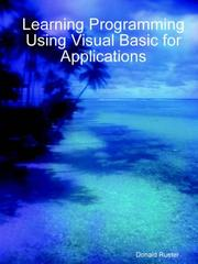 Cover of: Learning Programming Using Visual Basic for Applications