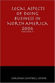 Cover of: Legal Aspects of Doing Business in North America - Volume II