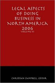 Cover of: Legal Aspects of Doing Business in North America - Volume III