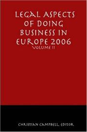 Cover of: Legal Aspects of Doing Business in Europe - Volume II