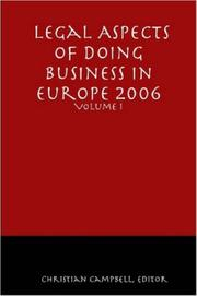 Cover of: Legal Aspects of Doing Business in Europe - Volume I