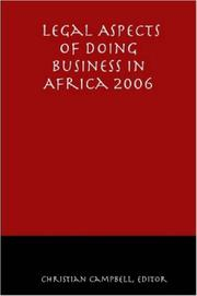 Cover of: Legal Aspects of Doing Business in Africa