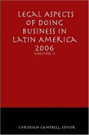 Cover of: Legal Aspects of Doing Business in Latin America - Volume II