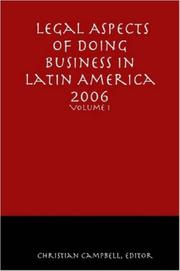 Cover of: Legal Aspects of Doing Business in Latin America - Volume I