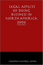 Cover of: Legal Aspects of Doing Business in North America - Volume I