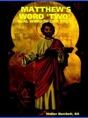 Cover of: MATTHEW'S WORD 'TWO'