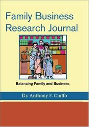 Cover of: Family Business Research Journal | Anthony F. Ciuffo