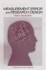 Cover of: Measurement error and research design