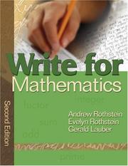 Cover of: Write for Mathematics | Andrew S. Rothstein