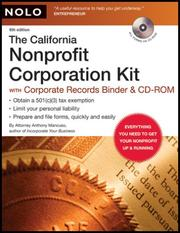 Cover of: The California Nonprofit Corporation Kit (Binder with CD-Rom) | Anthony Mancuso
