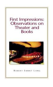 Cover of: First impressions | Robert Emmet Long