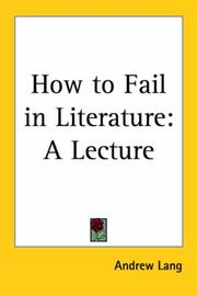Cover of: How to fail in literature: a lecture.